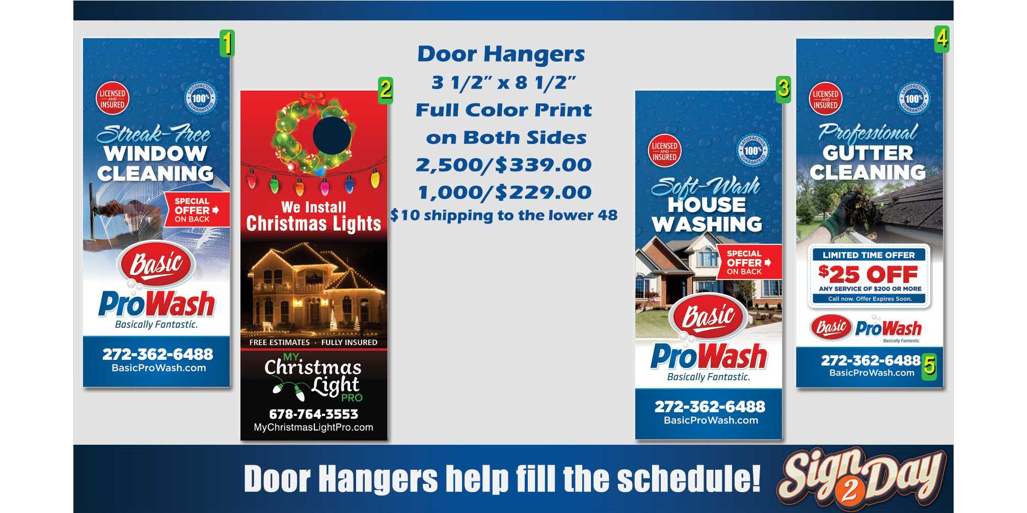 Cheap Gutter Cleaning Door Hanger Ideas